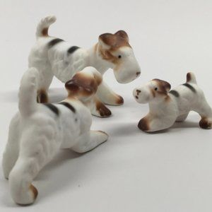 Vintage Mini Striped Airedale Family Figurines